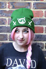 CAT REVERSED CROSS GALAXY KNIT GREEN BEANIE HAT ALT GRUNGE INDIE