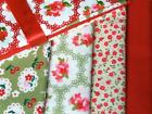 RED GREEN floral VINTAGE STYLE 100% COTTON FABRIC patchwork dress making bunting