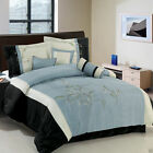Luxury 7 Piece Santa Fe Blue Black White Comforter Set with Pillows Bed in a Bag