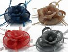 Small Round Mini Hat Flower Feathers Fascinator Hair Clip & Brooch Pin (#135)