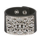"1 3/4"" (4.5 cm) Rhinestone Leather Wristband Bracelet"