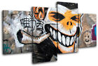 Monkey Urban Smoking Graffiti MULTI CANVAS WALL ART Picture Print VA
