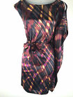 KAREN MILLEN Purple Graphic Tribal Print SILK Kimono Mini Party Dress 6 8 10 12
