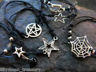 Knotted Waxed Cotton Cord bracelet UNISEX adjustable PAGAN star pentacle vampire