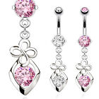 Hollow CZ Gem Clover Dangle Belly Ring Navel Naval Heart Clear, Pink