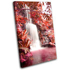 Waterfall Forest Red Landscapes SINGLE CANVAS WALL ART Picture Print VA