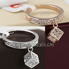 B1-R655 Fashion Cube Charm Ring 18K GP use Swarovski Crystal