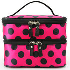 New Women Portable Cosmetic Retro Dot Pattern Mirror Beauty Makeup Hand Case Bag