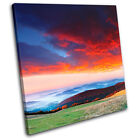Sunrise blue red Landscapes SINGLE CANVAS WALL ART Picture Print VA