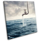 Surreal Tap in Sea Illustration SINGLE CANVAS WALL ART Picture Print VA