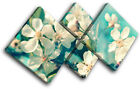 Cherry Blossom Teal Floral MULTI CANVAS WALL ART Picture Print VA