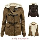 LADIES FULLY FLEECE THICKEN FUR LINED HOODED WOMENS ZIP DUFFLE SUEDE JACKET COAT