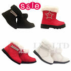 Girls Infant Boots Winter Fur Snow Patent Trim Zip Diamante Boots Size 3 4 5 6 7