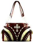 Western Cowgirl Rhinestone Cross Ruffle Detail Tote Purse Handbag Beige 4Options