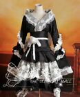 Black White Japanese Satin Lace Ruffled Gothic Lolita Dress Cosplay Costume 1073