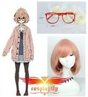 Beyond the Boundary Mirai Kuriyama short cosplay wig and glasses