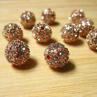 Wholesale Rose Gold 10mm Crystal Rhinestone Bead Pave Disco Ball Spacer Findings