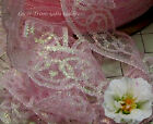 """10/20 Yds 1-1/2"""" Pink Iridescent Floral Lace Trim M75AV Buy More-Ship No Charge"""