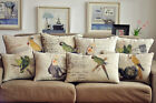 French Country Animal Bird Cotton Linen Decorative Cushion Cover Throw Pillow