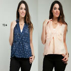 T24 Womens Sleeveless Summer Beach Work Office Party Plus Size Chic Tops Blouse