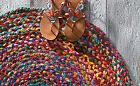 STUNNING BRIGHT ROUND COILED RAINBOW WOVEN COTTON RAG RUG MAT SHABBY RUSTIC CHIC