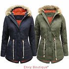 LADIES BRAVE SOUL FUR HOODED WOMENS QUILTED PADDED LINED PARKA JACKET COAT 8-16