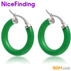 30mm Silver Plated Stud Hoop Earrings Fashion Jewelry For Women Gifts Stone Pick