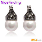 Fashion 12mm round beads Marcasite silver dangle stud  hoop earrings for gift