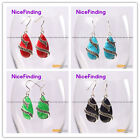 Fashion 14x24mm drip beads silver Marcasite dangle earrings for girl gift