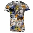 Mens Nelson Mandela Print Newspaper Clipping Tee T Shirt Top