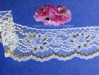 """8 Yards White-Gold 3-1/8"""" Large Floral Lace Trim M75BV Buy More-Ship No Charge"""