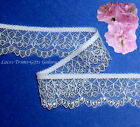 "10/20 Yards 1-1/8"" White-Silver Scallop Lace Trim 021AV Added Items Ship FREE"