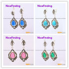 Fashion drip bead Marcasite silver dangle stud hoop earring 1 pair for girl gift