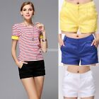 Colored Trendy Women Casual Mid-Waisted Skinny SHORTS Hot Short PANT SZ S/M/L/XL