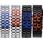 Women's/Men Lava Iron Samurai Metal Red/Blue LED Faceless Bracelet Wrist Watch