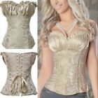 new Floral Sexy Lace Up Satin Steel Boned Underbust Waist Cincher Corset Shaper
