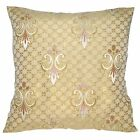 va11a Gold Olive Gold Brown Gold Pink Checked Thick Cotton Blend Cushion Cover
