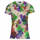 Mens Multiple Bright Floral Flower Print Tee T Shirt Top