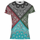 Ladies Women Four Colour Bandana Print Tee T Shirt Top