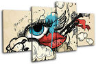 Vintage Style Lips/Eye Fashion MULTI CANVAS WALL ART Picture Print VA