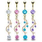 14k Gold Plated Vine Dangle Belly Ring Pierced Navel Naval Prong Set CZ Gem 14g