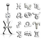 Zodiac Sign Paved CZ Gem Belly Ring Pierced Navel Astrology 14g Surgical Steel