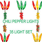 Novelty Lights 50 Mini Light Chili Pepper Cluster Light Set-Green Wire-16' Tall