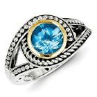 Sterling Silver w/ 14k Yellow Gold Blue Topaz Vintage Ring. Metal Wt- 5.98g