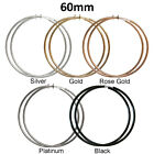60MM/6CM Big Large Hoop Style Clip On Earrings Silver/Gold/Platinum