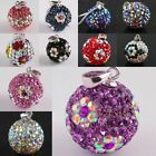 Wholesale Crystal Rhinestone Flower Floral Sterling Silver Charms Pendant Beads