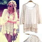 Women Vintage Hippie Boho Bell Sleves Gypsy Festival Fringe Lace mini Dress Top