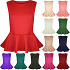 Womens Ladies Plain Stretchy Sleeveless Round Neck Flared Frill Party Peplum Top