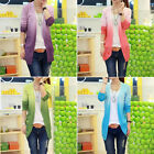 Spring Womens Gradient Color Cardigan Sweater Coat Crochet Knit Top Thin Blouse
