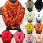 Hollow-Out Tassel Infinity 2-Loop Eternity Warm Knit Scarf Shawl Various Colors